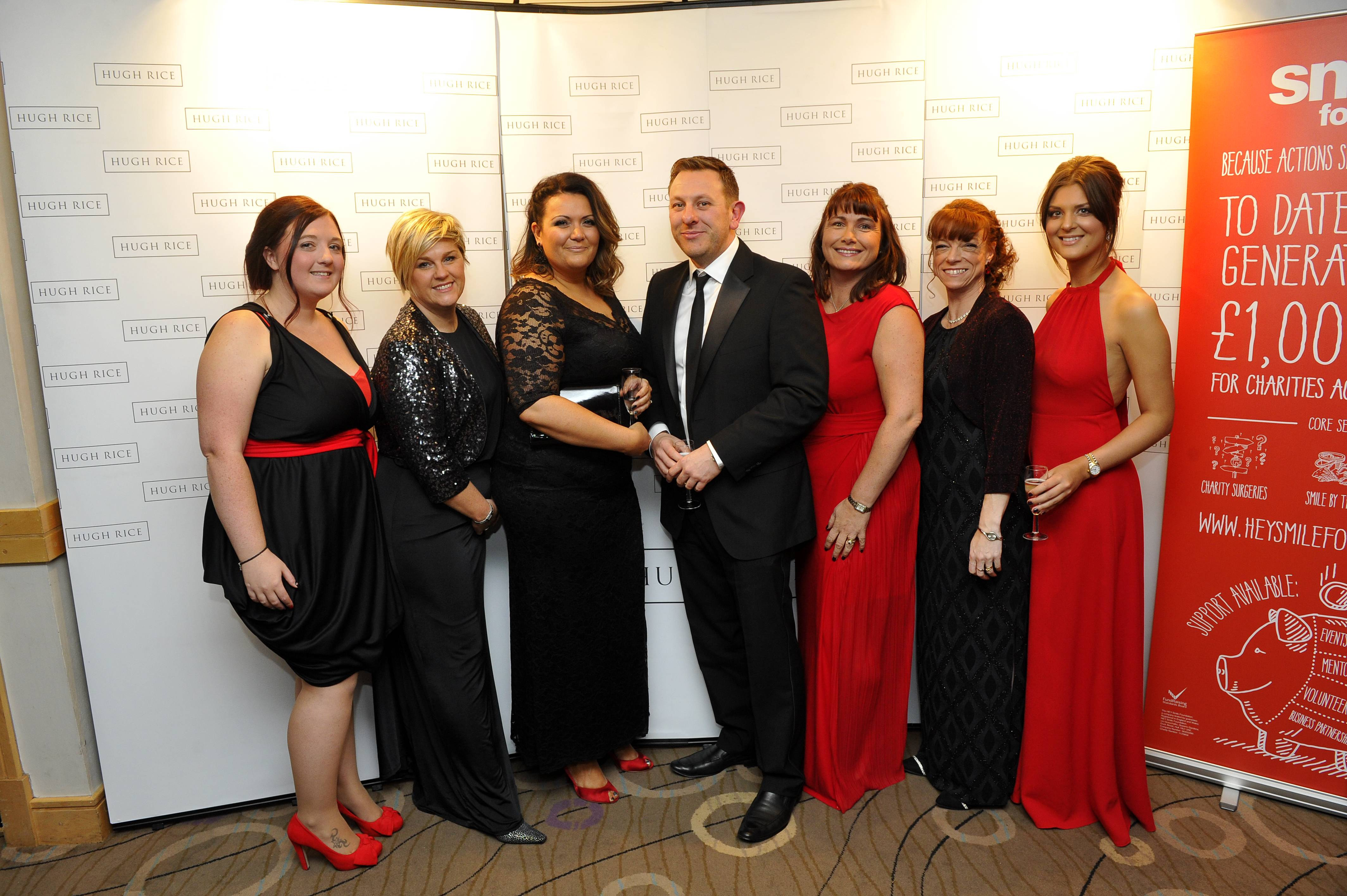 JOURNAL DIARY  14.11.15  -  The Smile Foundation held their Red and Black Ball at the KC Stadium, Hull.  From left are, Smile committee members, Sarah Shepherdson, Lynnsey Pilmer, Annabel Gray, Kevin Wilkie, Erica Cross, Claire Hill and Jessica Robinson.   Picture: Jack Harland  Prints can be ordered from www.thisisphotosales.co.uk/hullandeastriding or telephone 08444 060 910