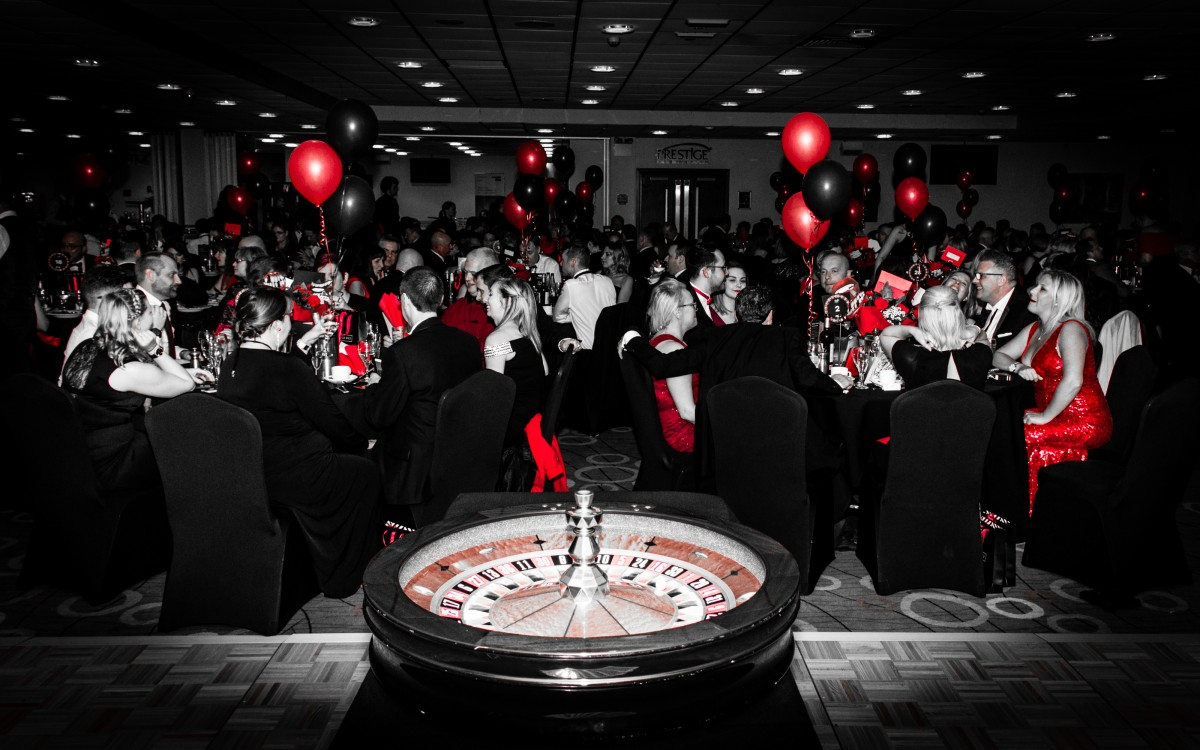 Smile event - Red and Black Ball with roulette wheel